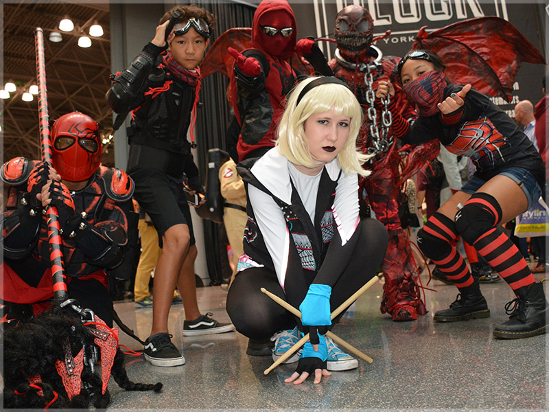 Spider-Gwen and Cosplay Friends at New York Comic-Con held at the Javits Convention Center