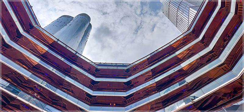 Interior skyward view from inside the Vessel at Hudson Yards