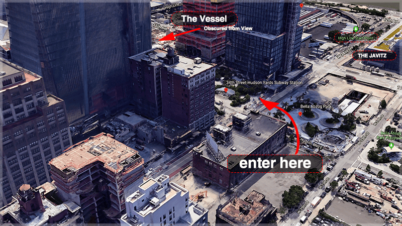 Map to Entering Hudson Yards from 34th Street